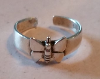 Vintage Sterling Silver 925 Butterfly Toe Ring Ladies 1990s Accessory Size 5