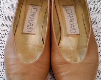 Vintage Joan and David Shoes Tan Leather Size 8.5 M Made in Italy 1980s