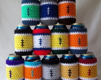 Sport Team Can Cozies, Team Color Can Cozy, Beer Can Cozies, Football Team Can Cozies, Football Beer Can Cover, Crochet Can Cover