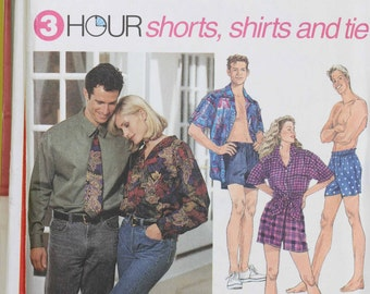 Womens Size 4 6 10 12 14 Mens  30 - 40 Simplicity 8150 Shorts Shirt Blouse Top Tie Teen Boys Misses  Uncut Sew Sewing Pattern