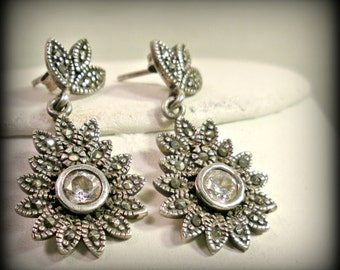 Silver and Marcasite Floral Earrings