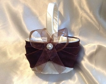 wedding flower girl basket ivory or white with dark brown custom made