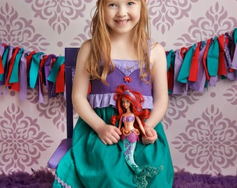 Girls Little Mermaid Twirl Dress, Ariel Mermaid Dress inspired by Disney's The Little Mermaid, sizes 2T-8girls