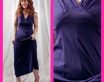 Vintage 70s Blue Long Maxi Dress Retro Disco Queen Gown
