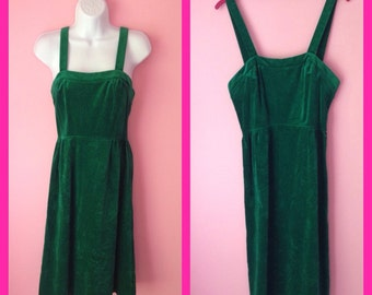 Vintage 90s Green Velvet Jumper Dress