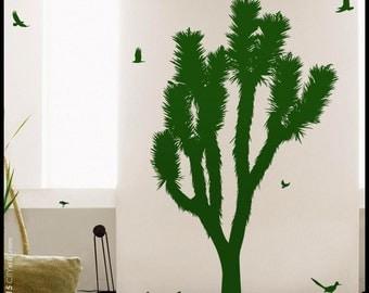 JOSHUA TREE DECAL : Joshua Tree, cactus-tree, with blossom. Desert flora, kid, nursery, playroom