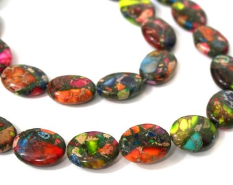 Gemstone Beads, Colorful Mixed Impression Jasper, 18mm x 13mm flat oval bead,  you choose full or half strand (987S)