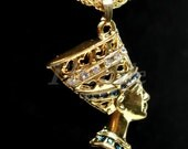 Egyptian Queen Nefertiti Bust With Crystals Necklace