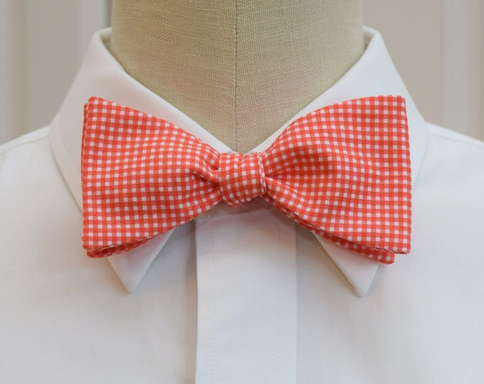 Men's Bow Tie, fire coral mini gingham check, wedding bow tie, groom bow tie, groomsmen gift, orange bow tie, bright coral bow tie, prom tie