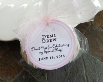 """Baptism, Christening, First Communion Favor Thank You Tags - For Cake Pops - Lollipops - Cookies - Catholic Party Favors - (50) 1.5"""" Tags"""