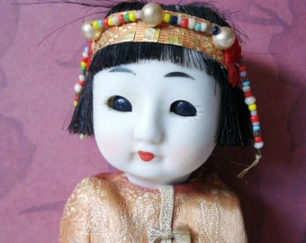 Vintage 1940's Bisque Chinese Doll with Open and Close Glass Eyes, Jointed Compositon Body & Human Hair Wig