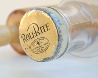 Glass rolling pin vintage Roll-Rite baker's rolling pin Good Housekeeping USA collectible baking memorabilia