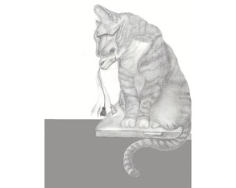 Gray Tabby Cat & Computer Mouse Graphite Art Print