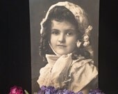 Beautiful Girl  - Real Photo Postcard - Bonnet adorned with Roses - 1908 - Curly Hair