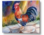Rooster Decor Chicken Art Print on Wood by Janet Zeh