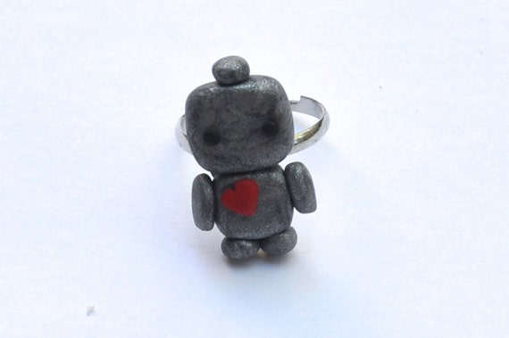 Polymer Clay Robot Heart Love Ring