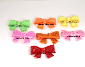 """Sequin Bows You pick colors - 2"""" Set of 6 - NEW LARGER SIZE"""