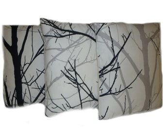 "3 Tree Cushion Pillow Covers Black Gray Plllows Funky Retro White Designer Cotton Pillowcases, Shams, Slips.Scatter. Pair 16"" (40cm)"