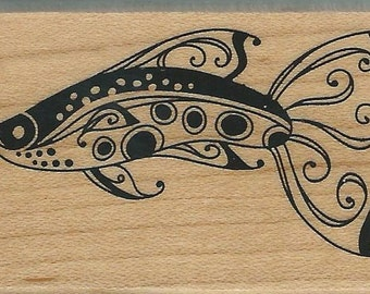 Fish Stamp  --  NEW  -- Wood Mounted Rubber Stamp -- Inkadinkado Brand --  (#1253)