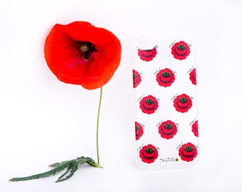 Poppies Pattern Transparent iPhone Case - Floral iPhone 6 / 6 Plus Case - iPhone 5 / 5S Case - iPhone 4 Case - HTC - Samsung - Sony - other