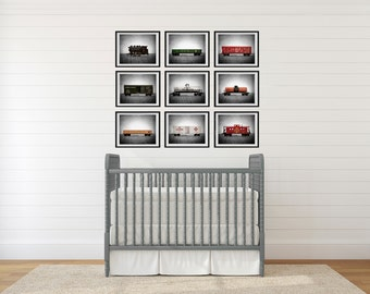 Vintage Toy Trains set of Nine Photo Prints on Grey Background, Boys Nursery Decor, Rustic Decor Toy Trains, Baby room ideas