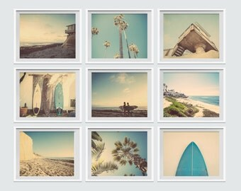 Set of 9 Surf Beach Decor Photo prints, beach photos, , yellow, turquoise, sunset, retro, vintage surf home decor, beach wall art