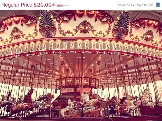 FLASH SALE The Carousel One Photo Print, Nursery Decor, Carnival Prints, Horses, Carnival Art, Interior Design