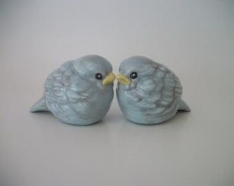 Bluebird Lovebirds Wedding Cake Topper, Wedding Gift, Anniversary Gift, Home and Garden Decor, Ceramic Love Birds