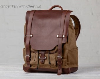 "The 13"" Cascade Canvas Backpack - Ranger Tan with Chestnut"