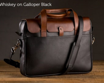 The Luxury Briefcase - Whiskey on Galloper Black