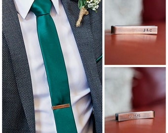 Personalised Skinny Tie Bar, Skinny Tie Clip, Groomsmens Gift, Men's Accessories Gift, Copper
