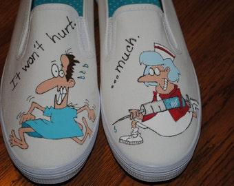 For Sale New Nurse Design Shoe for you wonderful funny nurses...I LOve you size 8