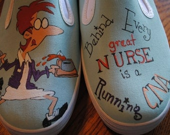 """For Sale Heeeyyy Nurses or CNA's just finished these shoes for you, """"Behind Every Great NURSE is a Running CNA""""  Womens size 8.5"""