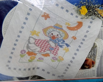 Bucilla 63485 The Real Mother Goose Stamped Baby Quilt