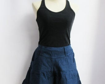 P3, Dark Blue Summer Sea Beach Cotton Skorts, dark blue shorts