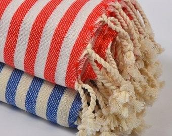 50% sale 2 bath towels, turkish beach towel, bath towel, baby blanket, beach wedding, red blue beige striped, beach towel, cotton towel