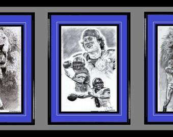 Detroit Lions ART- Barry Sanders, Matt Stafford & Calvin Johnson