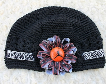 Inspired Jumping man jordan crochet black kufi hat with loopy bow zebra red black and basketball resin center fit girls to adult