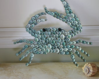 Seashell Covered Coastal Crab - Crab Wall Decor - Beach Decor
