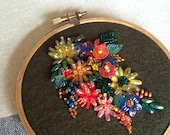 "Embroidery art "" Hoop Garden "" Free Hand beads Stitched"