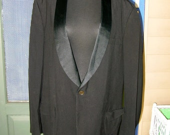 Vintage After Six Black Satin Lapel Tuxedo W 38 Long