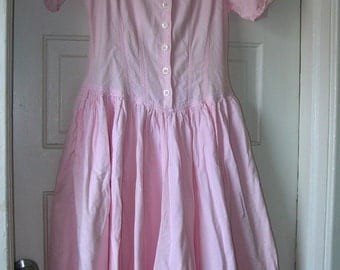Vintage Pink Boho Long FULLSkirt Cotton Dress
