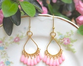 RESERVED For Kalie  Pink Gold Drop Dangle Earrings -Gold and Pink Teardrop Earrings-Boho,Wedding,Statement Earrings,Bridesmaid,Beach Jewelry