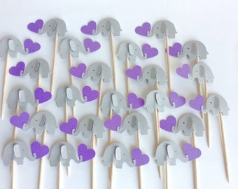 24 elephant gray and Purple Party Picks - Cupcake Toppers - baby shower