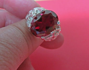 "Ruby Ring for Men - Men's ""Manly"" Sterling Silver Ruby Ring - Men's Ruby Ring in 4 Sizes"