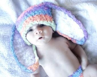 0 to 3m Newborn Rainbow Bunny Hat, Newborn Baby Hat, Hat For Baby, Baby Shower Gift, Baby Beanie, Rainbow Baby Hat Newborn Photo Prop Gift