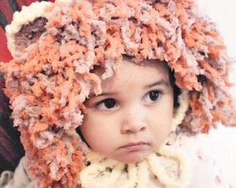 SALE 2T to 4T Lion Hat Yellow Orange Brown Crochet Lion Bonnet Childrens Lion Beanie Unisex Girl Boy Lion Costume Kids Prop Photo Prop Gift