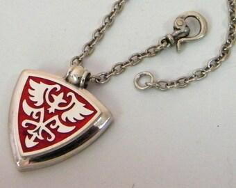 SILVER NECKLACE PENDANT, silver sterling necklace, with chain special clasp, silver sterling, pendant with Enamel, red black blue men women