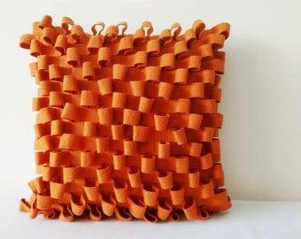 3-D Orange Felt Cushion Cover , Orange Decorative Pillow , Accent Throw Pillow, Textured Felt Pillow in Woven Loop Pattern