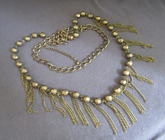 Metal Beaded Fringed Chain Necklace, long bead necklace, chain and bead